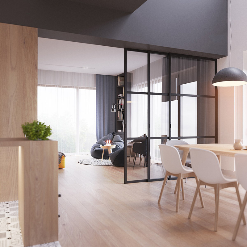 Cửa sổ cao, sát trần cung cấp nguồn sáng dồi dào cho căn phòng