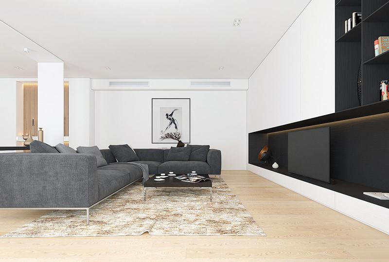 Tủ tivi thấp có cùng màu sắc với ghế sofa