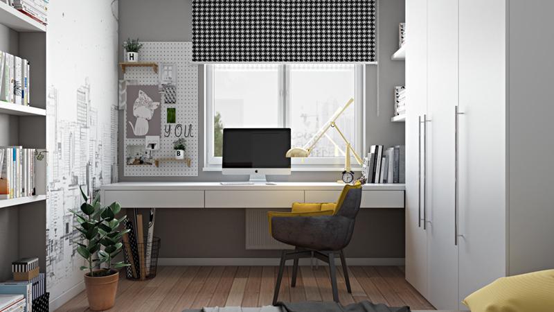 Bàn làm việc đặt cạnh cửa sổ để tận dụng ánh sáng tự nhiên vào ban ngày. Một tấm màn trượt giúp điều chỉnh lượng ánh sáng phù hợp mỗi khi ánh nắng trở nên gay gắt.