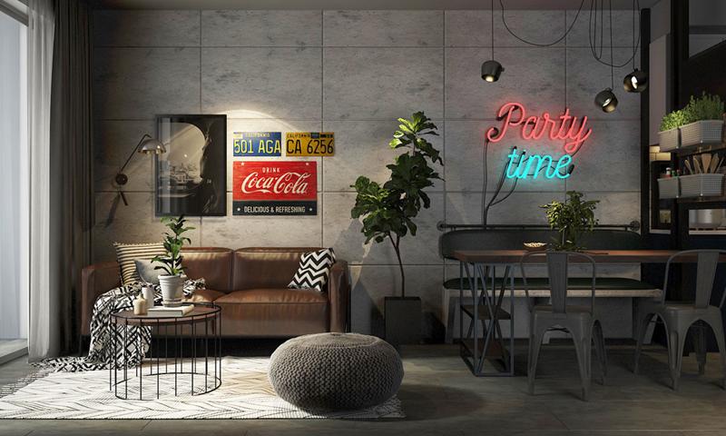 Phòng khách liền kề bàn ăn cùng những tấm bảng hiệu cách điệu, dùng để trang trí