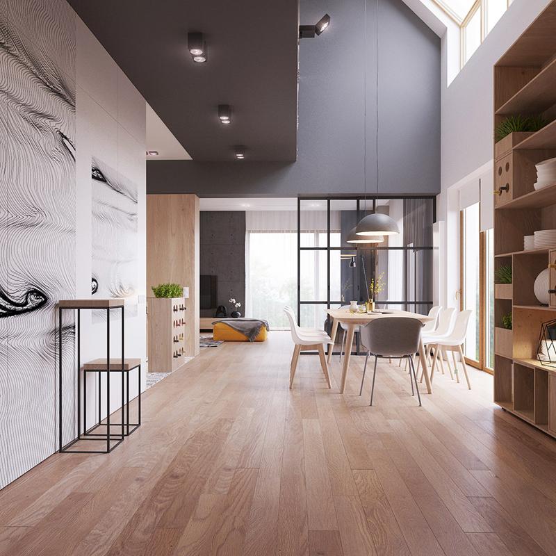 Bức tường kính giúp chia phòng khách với phòng ăn và nhà bếp