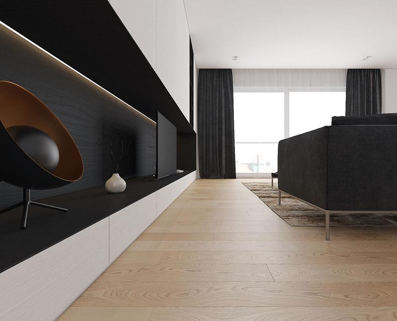 Tủ gỗ sơn đen có hai lợi ích. Đầu tiên, nó không làm rối mắt trong khi xem. Thứ hai, nó cho phép các thiết bị điện tử hòa trộn một cách không phô trương trong khi tắt nguồn.