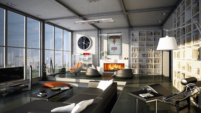 Sàn vượt cấp phân chia phòng khách với các khu vực khác trong nhà. Cửa kính cung cấp nguồn sáng cho việc đọc sách