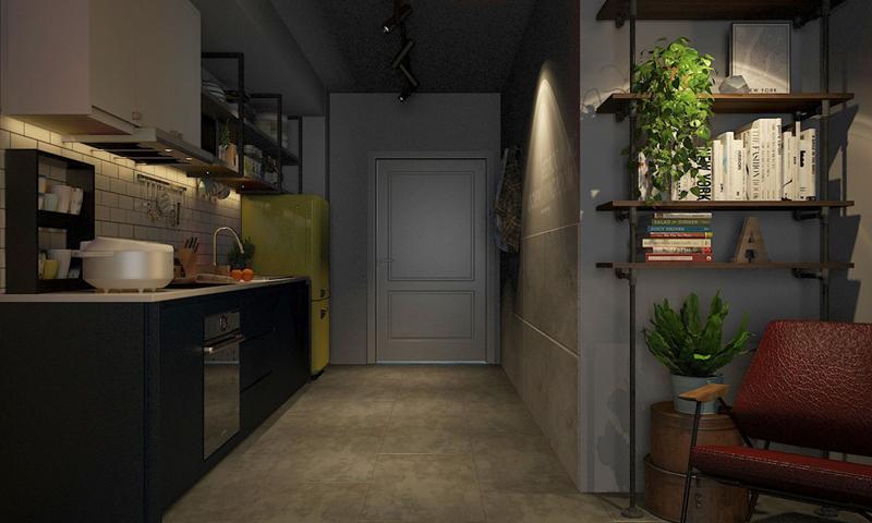 Nội thất trong nhà phần lớn mang màu tối, đèn bố trí có dụng ý ở những nơi cần làm sáng