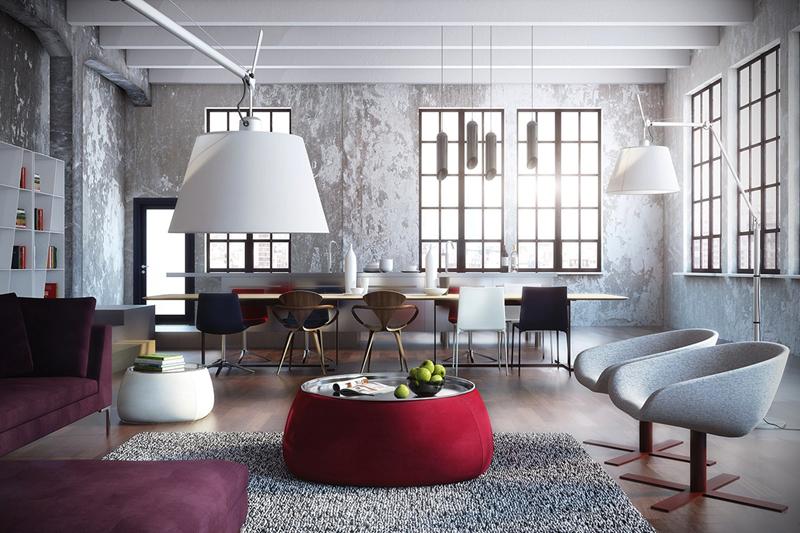 Đồ nội thất màu sắc, bổ sung hoàn hảo cho bức tường bê tông ở phía đối diện
