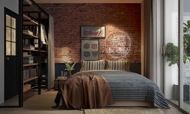 Một tác phẩm nghệ thuật bằng chữ, tô điểm cho bức tường phòng ngủ