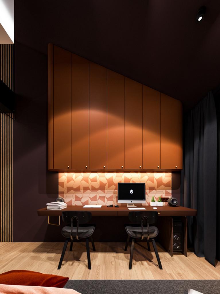 Đèn khiến phòng làm việc trở thành một tác phẩm nghệ thuật được mọi người yêu thích.