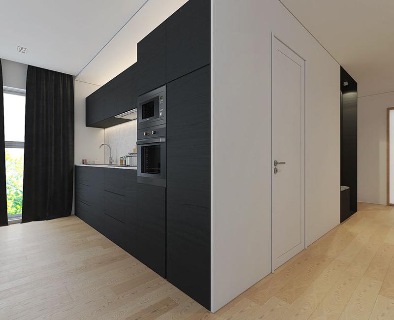 Tủ bếp và tủ lưu trữ có màu sắc đối lập
