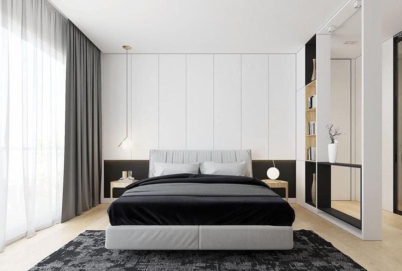 Trên lầu, phòng ngủ màu đen và trắng tạo ra sự tương phản sắc nét