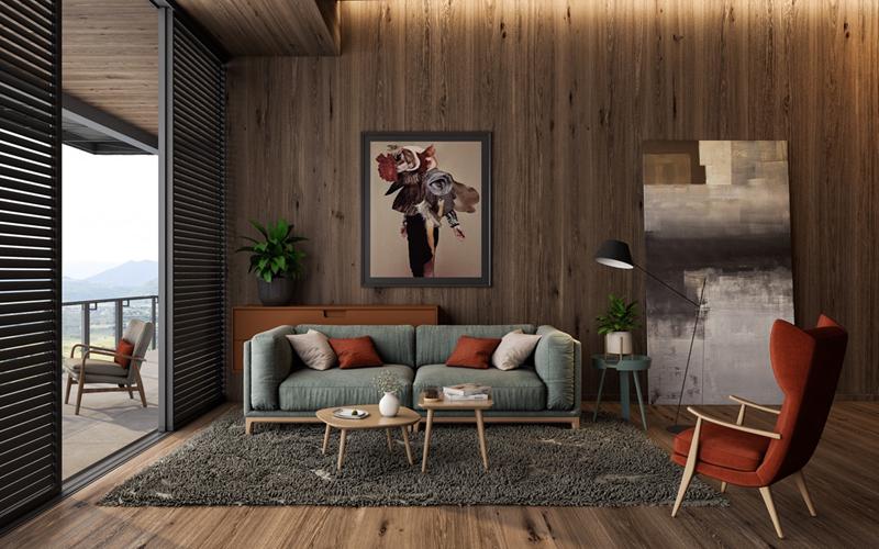 Ghế ngồi màu đỏ nổi bật giữa những sản phẩm bằng gỗ tự nhiên. Chân bàn, ghế sofa, ghế đơn có hình dáng thanh mảnh, bo tròn tinh tế.