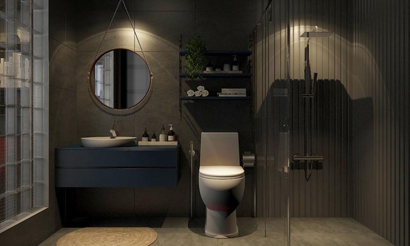 Phòng tắm ma mị với những gam màu tối