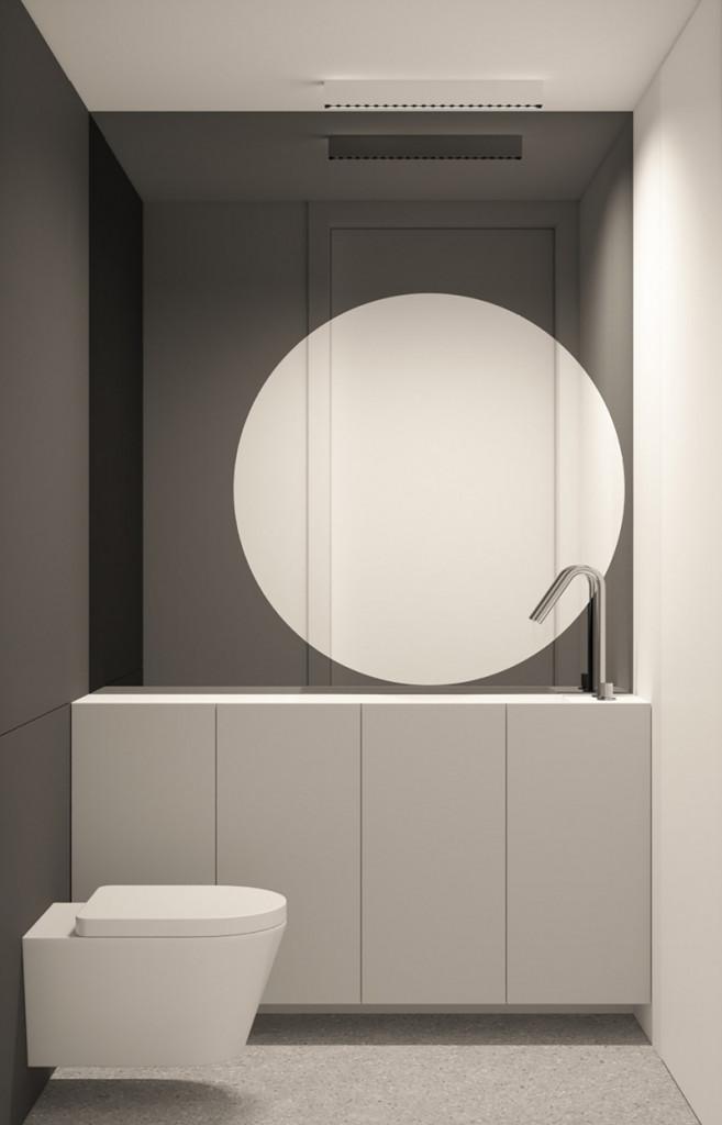 Màu xám giúp cho phòng tắm luôn sạch sẽ