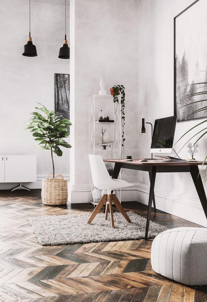 Chậu cây cũng góp phần làm mềm chiếc bàn, chiếc ghế góc cạnh xung quanh.