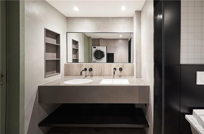 Gợi ý màu xanh lá cây cho phòng tắm tối giản hiện đại trong nền của các màu sắc trung tính