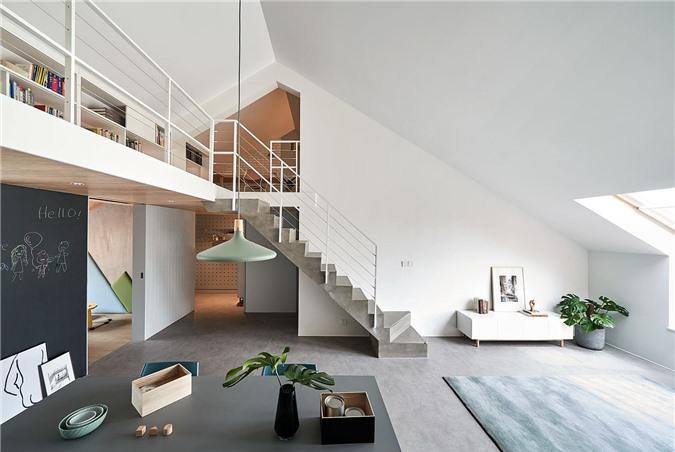 Thiết kế căn hộ Bắc Kinh tuyệt vời với không gian tầng 1 liên kết chặt chẽ với tầng lửng