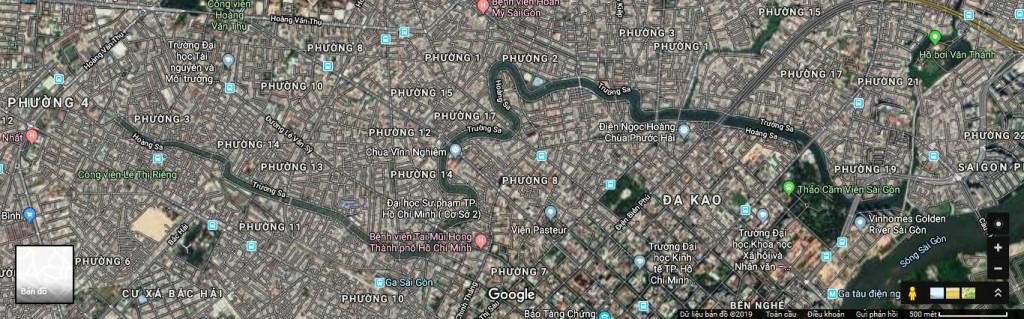 Bản đồ không ảnh kênh Nhiêu Lộc - Thị Nghè (Nguồn: Google Maps 2019)