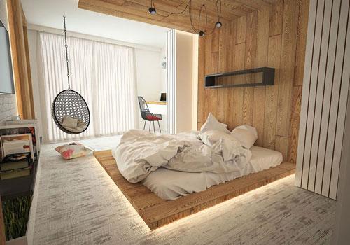 Với sự trợ giúp của đèn led mà bộ giường ngủ gỗ tự nhiên với thiết kế đơn giản bỗng trở nên thu hút hơn rất nhiều