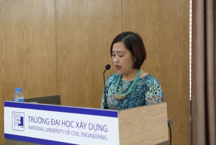 TS.Tạ Quỳnh Hoa - Trưởng Khoa Đào tạo Quốc tế, Giám đốc ICCEC phát biểu tại buổi lễ