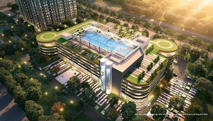 Bể bơi mái kính thời thượng phong cách Olympic nằm ngay kế cận phân khu Ruby