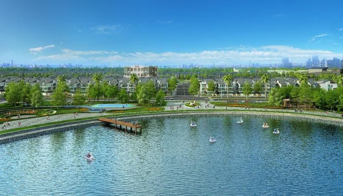 Dự án An Vượng Villa nằm ngay cạnh hồ Bách Hợp Thủy rộng 6ha