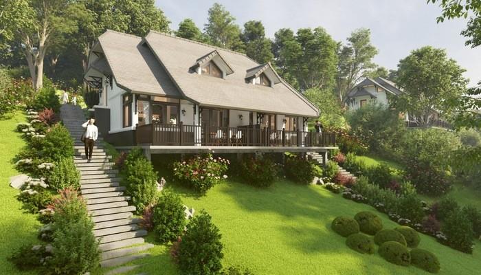 Phối cảnh dự án tại Ponarama Hills được thiết kế theo phong cách Châu Âu, bao bọc bởi cây xanh che phủ