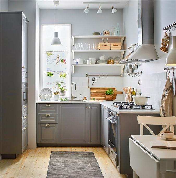 Không gian lãng mạn, nhà bếp nhỏ nhắn này trông giống như được lấy cảm hứng từ một nhà làm bánh ở Paris.