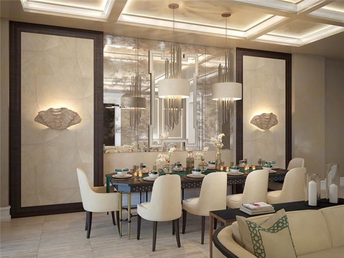 Gương trang trí ở đây giúp nhân đôi không gian phòng khách.