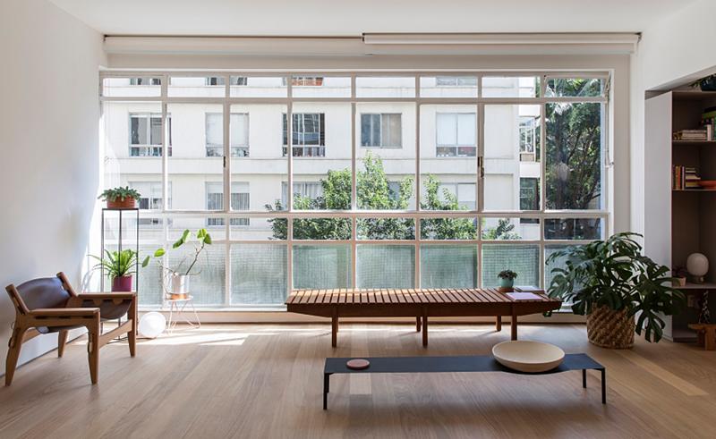 Cửa sổ lớn cung cấp nguồn ánh sáng cho ngôi nhà
