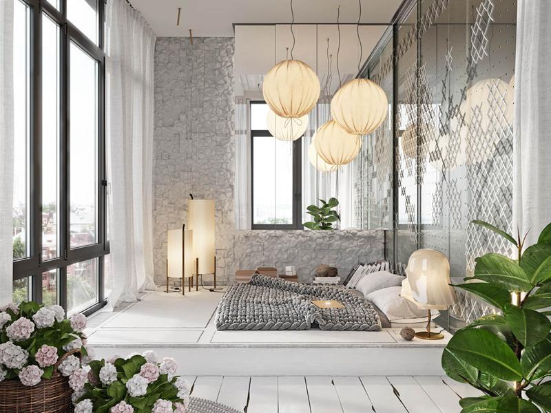 Nội thất trong phòng được bố trí khéo léo mang cảm giác như một bức tranh