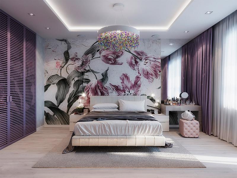 Căn phòng truyền cảm hứng về một bông hoa màu tím đang nở rộ