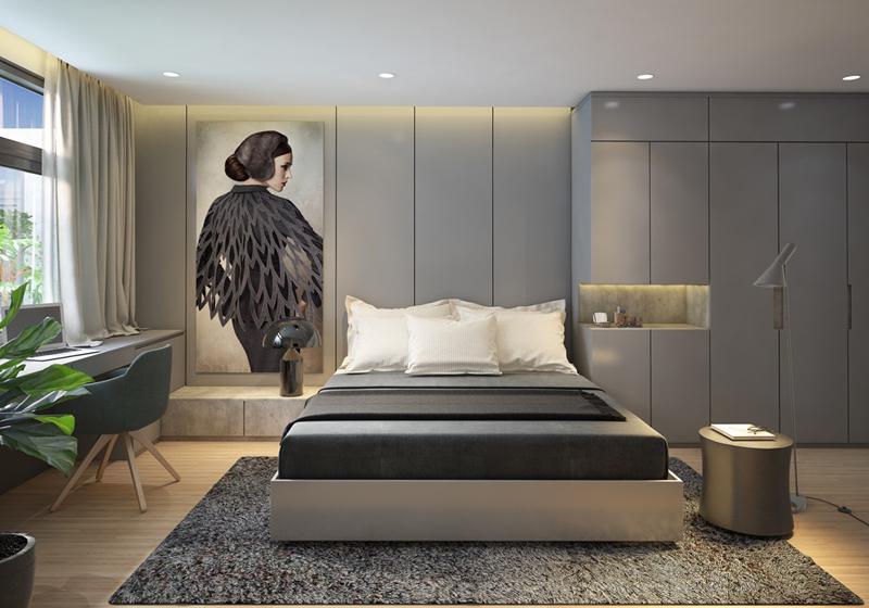 Bức tranh cô gái ở đầu giường khiến căn phòng trông thú vị hơn