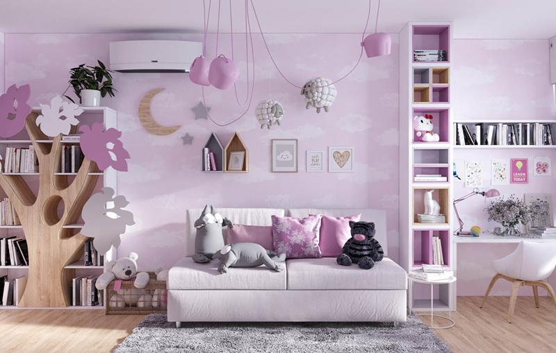 Lấy màu hồng và trắng làm chủ đạo, căn phòng có cây, các con vật được bày trên ghế, trưng bày trong giá sách sẽ giúp trẻ cảm thấy gần gũi với cảnh vật thiên nhiên hơn.
