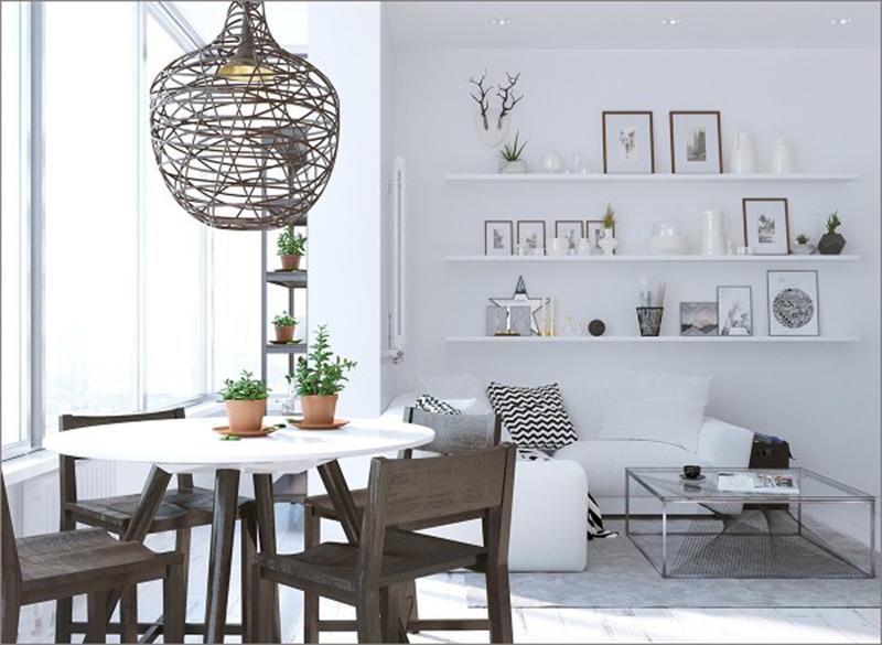 Phòng ăn mang phong cách trẻ trung khi có những giá gỗ gắn trên tường để tranh ảnh, lọ hoa và những vật dụng trang trí khác.