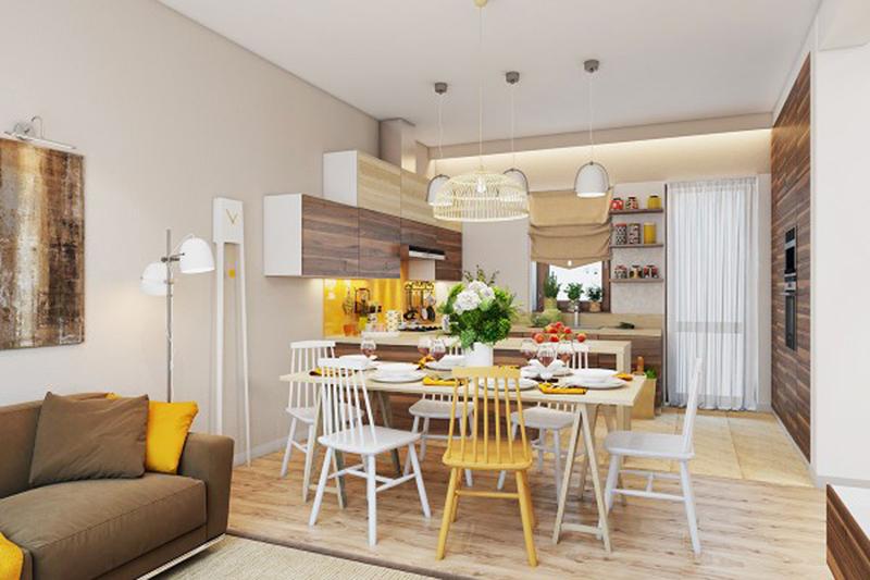 Bộ bàn ghế màu trắng có duy nhất một chiếc màu vàng là điểm độc đáo cho phòng ăn. Những chiếc đèn treo rủ xuống khiến cho căn phòng trở nên sang trọng hơn.