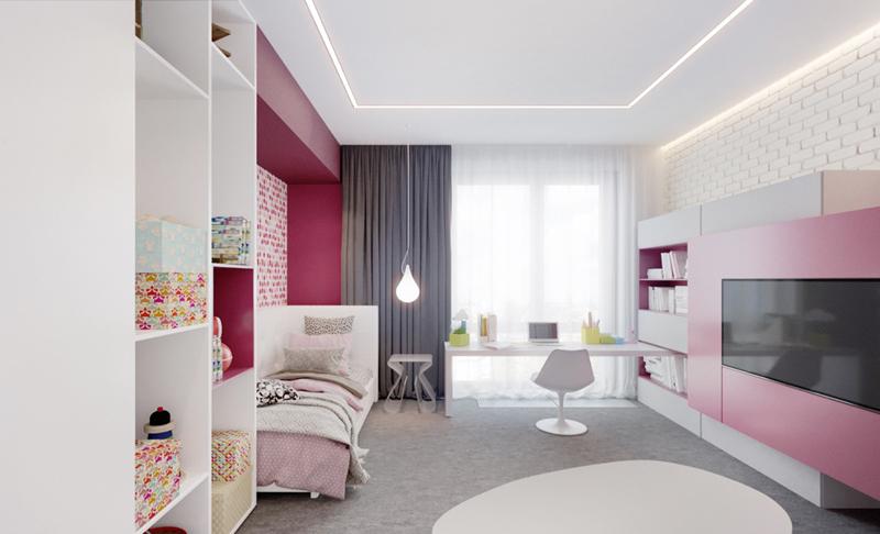 Căn phòng có mầu hồng pha trắng làm chủ đạo. Chiếc tivi được kê đối diện với giường ngủ sẽ giúp trẻ vừa nằm vừa xem các chương trình truyền hình.