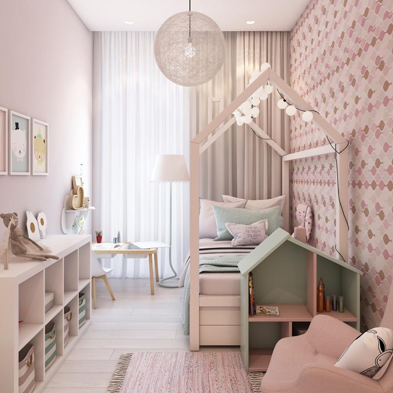 Giường ngủ hình ngôi nhà là cách thiết kế độc đáo cho phòng ngủ của trẻ.