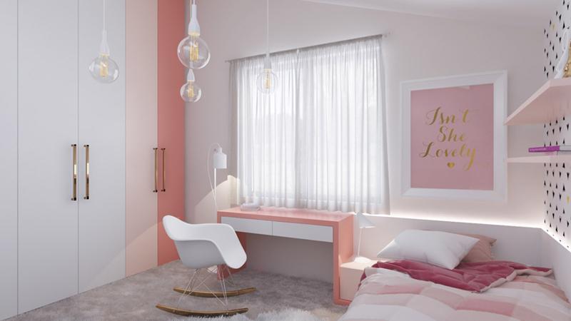 Phòng của trẻ trở nên sáng sủa hơn khi các đồ vật có màu trắng, hồng.