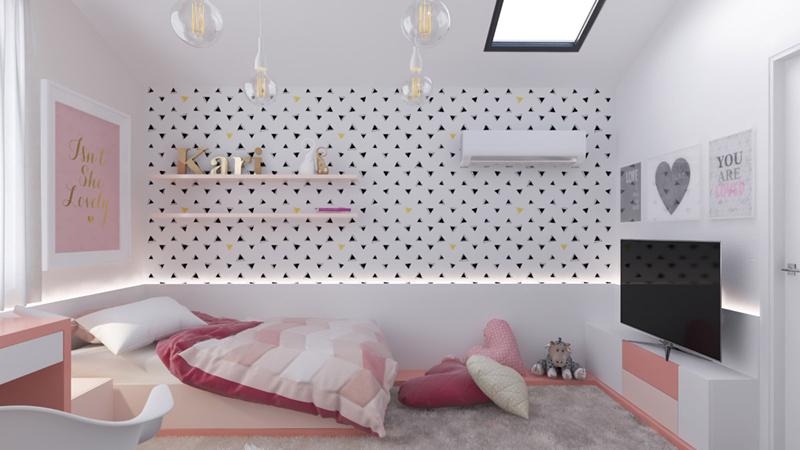 Tường được dán giấy hình tam giác màu đen đã góp phần làm cho căn phòng nổi bật hơn.
