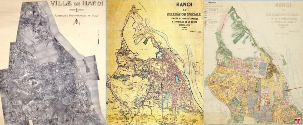 Từ trái: bản đồ không ảnh Hà Nội 1935; bản đồ thực trạng 1941 và bản đồ quy hoạch do KTS. Louis-Georges Pineau  thực hiện, công bố 1943