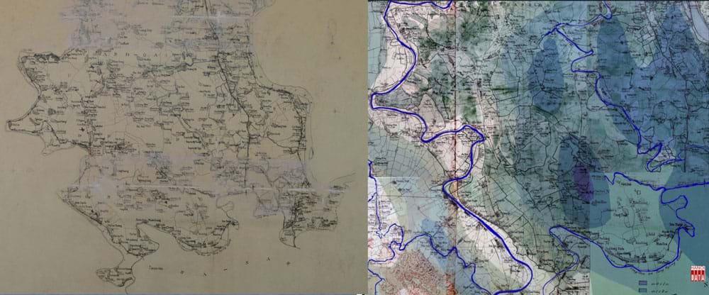 Bản đồ khảo sát ghi lại tên gần 200 ngôi làng để sau đó đưa vào nội dung bản đồ Phủ Ứng Hòa do Sở Địa chính xuất bản 1905 ghi rõ các tuyến đường bộ, đường sắt, đường sông, hệ thống sông ngòi, kênh mương, trồng trọt