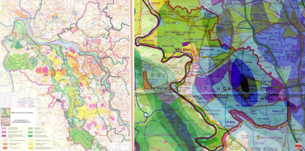 """Bản  đồ  các dự án """"thần tốc""""  của tỉnh Hà Tây giao đất nghiên cứu quy hoạch đô thị  trước khi nhập vào Hà Nội (2005 - 2008). Phóng to khu vực huyện Ứng Hòa: khu đô thị công nghiệp đặt vào vùng trũng ngập nhất, thậm chí +0m"""
