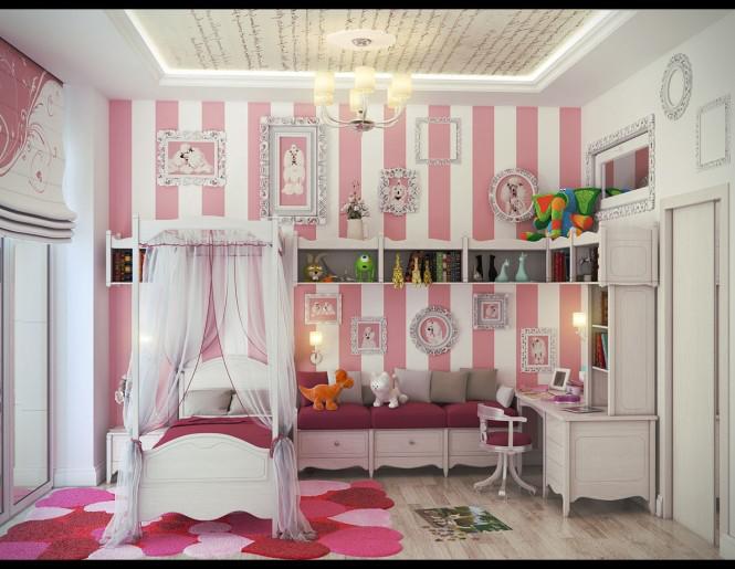 Căn phòng của trẻ lấy mầu hồng, trắng làm chủ đạo và được thiết kế theo phong cách cổ điển. Ấn tượng với trẻ khi bước vào phòng là những bức tranh treo trên tường
