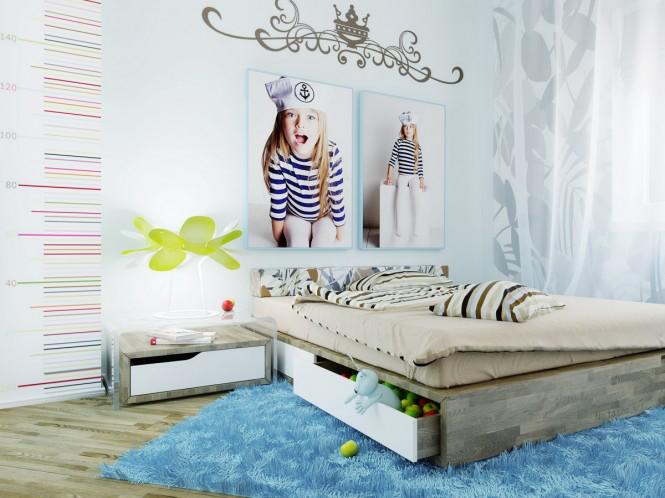 Căn phòng của trẻ mang phong cách hiện đại với gam màu sáng làm chủ đạo. Hai bức tranh hình em gái treo trên tường đã làm nổi bật hơn cho căn phòng.