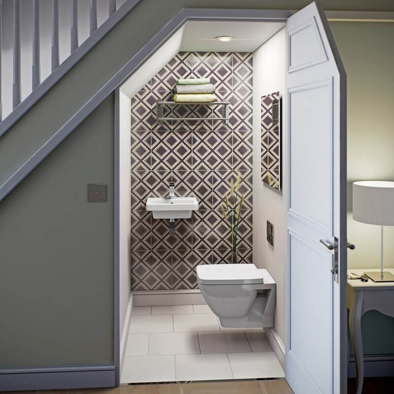 Do diện tích khiêm tốn, khi thiết kế nhà vệ sinh dưới gầm cầu thang, gia chủ cần lưu ý tiết giản đi vòi hoa sen, bồn tắm, chỉ nên lắp đặt bồn vệ sinh và chọn loại bồn rửa gắn tường để tiết kiệm tối đa không gian