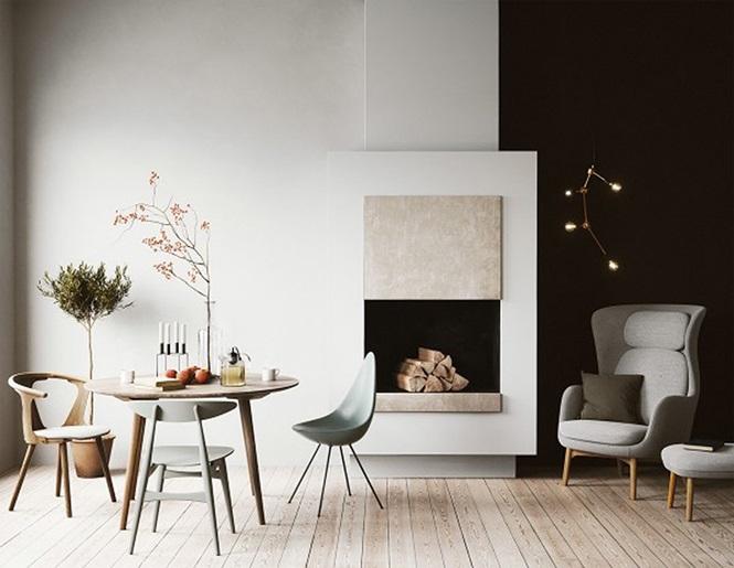 Mẫu phòng ăn rất đơn giản và khác lạ dù chỉ vài chiếc ghế, cây, lò sưởi