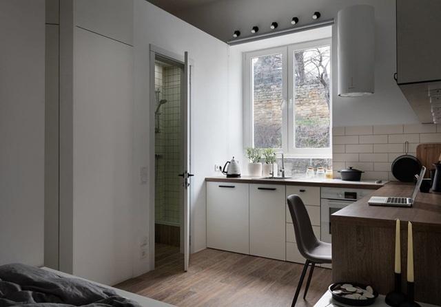 Thiết bị hút mùi nhà bếp có khối hình trụ tròn, tiết kiệm không gian. Đèn của hút mùi chiếu sáng xuống bếp nấu. Phía trên bồn rửa là dãy đèn để thắp sáng căn bếp vào buổi tối.