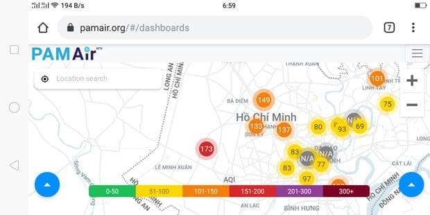 """Tại TP.HCM và một số tỉnh vùng ven, tuy mức độ ô nhiễm đã giảm, nhưng vẫn hiếm thấy """"màu xanh"""" không khí trong lành. (Ảnh chụp màn hình)"""