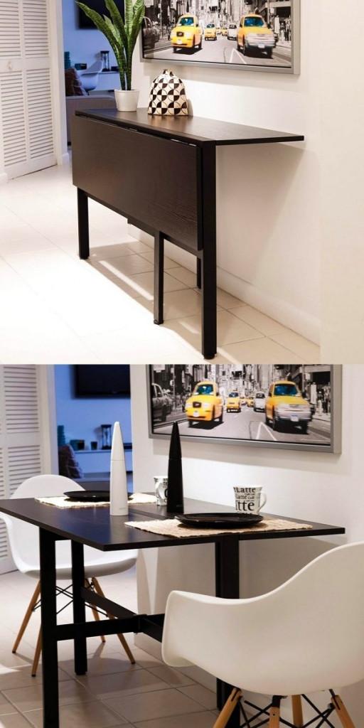 Chiếc bàn ăn đẹp, sang trọng này có thể được gập gọn lại và trở thành một chiếc kệ để đồ nhỏ trong nhà