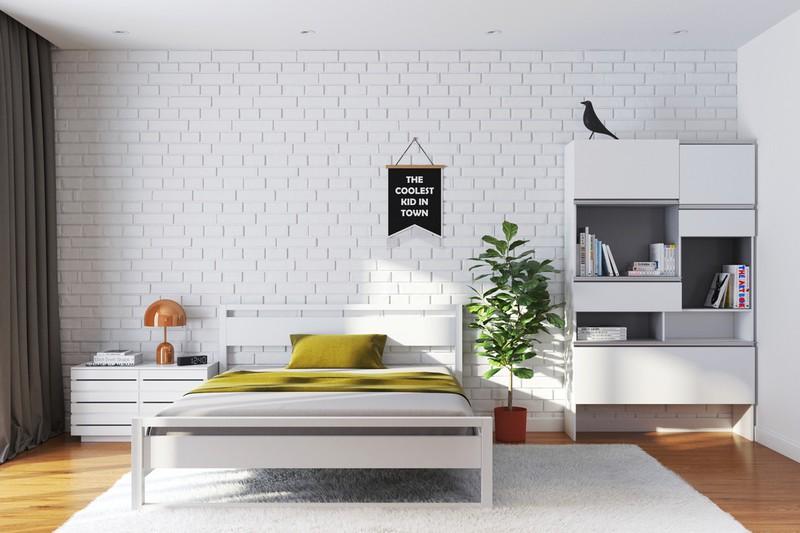 Tông màu trắng giản dị tạo nên sức hút cho phòng ngủ