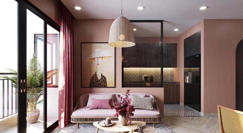 Bạn có thể thêm màu hồng vào thiết kế phòng của bạn thông qua rèm cửa, bức tường.